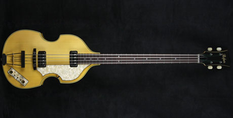 hofner custom shop 500-1 violin bass in natural amber